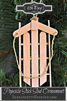 Simple Popsicle Stick Sled {Ornament Day 8} | Serendipity Refined | Bloglovin'