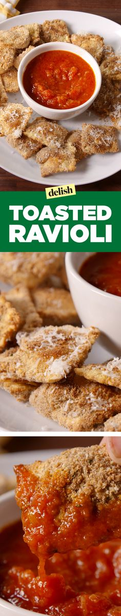 Toasted ravioli and marinara sauce is the new chips and salsa. Get the recipe on Delish.com.
