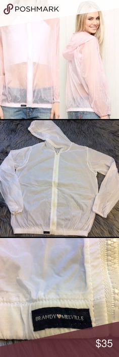Brandy Melville WHITE Scar windbreaker jacket WHITE Brandy Melville NWOT Scar windbreaker Jacket-one size Brandy Melville Jackets & Coats
