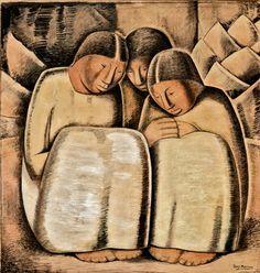 Las Hermanas (The Sisters), Alfredo Ramos Martinez, c. 1934, tempera, Conté crayon and wash on board