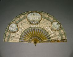 Ballooning scenes depicted on a fan made with light tortoiseshell carved sticks. The three painted panels illustrate: 'Ascension de Blanchard a Paris, 1784'; 'Experiences de M. M. Charles et Robert, 1783'; 'Ascension des Freres Robert 27 aout, 1783.'