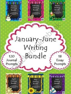 January-June Writing Bundle from Right Down the Middle with Andrea on TeachersNotebook.com -  (141 pages)  - January-June Writing Bundles includes 120 journal prompts. The journal prompts come in two ways. One way is to create a mini-journal with all of the prompts for each month. The other way is a cut-and-paste method where you simply copy the number of topic