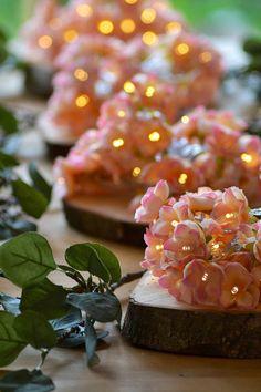 Extra long! Pale pink blush Rose Flower Fairy string warm white 40 LED Lights 4M wedding decoration Mum Mom gift valentine day easter