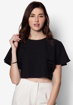 Buy Maxqullo Black Top With Frill Sleeves | ZALORA HK