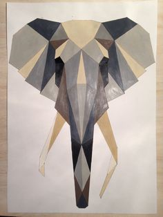 Geometric Elephant Poster on Etsy