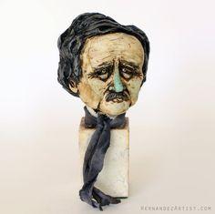 Edgar Allan Poe   Handmade Sculpture Polymer by HernandezEdgarArt
