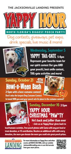 Yappy Hour is a fun event for you and your pooch! Don't miss dog contests, giveaways, live music, drink specials and more! Event Marketing, Marketing Ideas, Downtown Events, Resident Retention, Birches, Relay For Life, Drink Specials, Fundraising Ideas