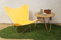 Angelucci 20th Century Butterfly Chair with 50s Cane sidetable