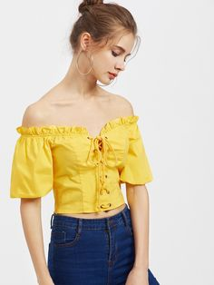 Short Sleeve Blouses. Top Decorated with Lace Up, Frill. Designed with Off the Shoulder. Slim fit. Perfect choice for Vacation wear. Plain design. Trend of Summer-2018. Designed in Yellow. Fabric has no stretch.