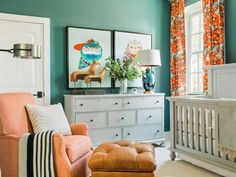 Nursery Pictures From HGTV Smart Home 2016 Part cheerful play space, part nurturing place to sleep, this gender-neutral nursery features modern design, earthy elements, and kid-approved artwork. Neutral Nursery Colors, Orange Nursery, Turquoise Nursery, Nursery Paint Colors, Bright Nursery, Nursery Grey, Gender Neutral Colors, Nursery Modern, Floral Nursery