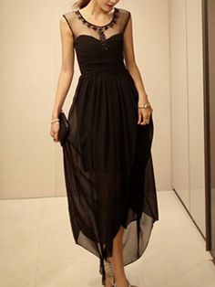 Black Maxi Dress With Mesh Panel