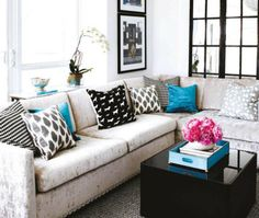 Love the neutral pallet with pops of color here and there.
