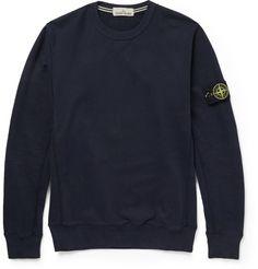 Stone Island Fleece-Backed Cotton-Jersey Sweater
