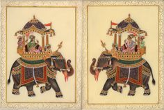 Mughal Miniature Painting – Striking Ambabari Elephant Art Subject: Mughal Miniature Painting Paint Material: Opaque watercolors (with embossed semi-precious stones) Base Material: Faux (synt…