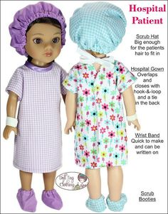Hospital Patient pdf pattern for 14 to 14,5 inch dolls like WellieWishers and Hearts for Hearts. By Doll Tag Clothing.
