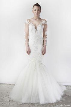 leah da gloria spring 2015 delphone illusion long sleeves neckline mermaid #wedding dress #weddingdress #weddings #bridal