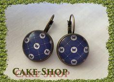 """B.O. cabochons 14mm """"nuances bleues & papillons"""" de Cake shop - Bijoux gourmands sur DaWanda.com"""