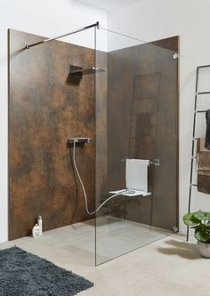Ihre Duschwelt ❤ For a quick renovation, the Sprinz System Basic rear shower panel will be mounted d Shower Seat, Shower Panels, Shower Tiles, Glass Bathroom, Design Bathroom, House Plans, New Homes, Home Decor, Kallax Regal