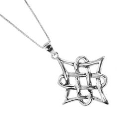 Sterling silver jewellery: Celtic Collection: Oxidised Knotwork Pendant In Sterling Silver