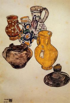 Egon Schiele >> Ceramics @Bonnie Levinthal ...here is another! i know, i haven't seen these still life paintings either. :)