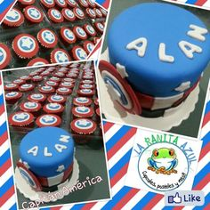 Captain America cake and cupcakes