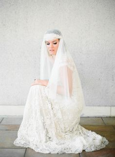 Chaviano Couture gown + veil by Danani Handmade. Photography: Ashley Goodwin Photography - ashleygoodwinphotography.com Photography: Ashley Goodwin  Read More: http://www.stylemepretty.com/2014/04/25/vintage-inspired-wedding-photo-shoot-in-honolulu/