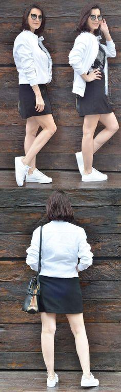 Jaqueta bomber de linho, mini saia e tênis branco.  Créditos: https://www.makeupatelier.com.br/2018/01/jaqueta-bomber-de-linho-mini-saia-e-tenis-branco/