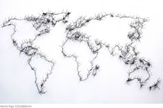 world map in thread and pins, Debby Smyth.