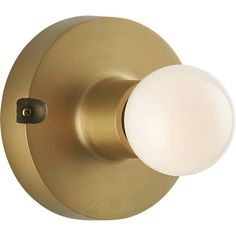 Shop brass flush mount lamp.   Inspired by vintage light fixtures, sculptural round of brass-plated aluminum gleams a refined industrial glow with brilliantly exposed bulb.