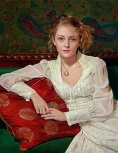 """""""Mia in Cameo"""" - Miles Williams Mathis, oil on canvas {figurative realism art female seated woman portrait cropped painting} mileswmathis.com"""