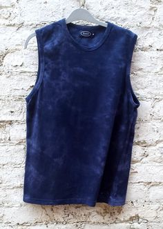 Mens Tie Dye Acid Wash Vest Top size M Navy & Light Blue #tiedye #alternativefashion