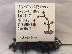 Charlie Brown is a Holiday tradition!! Canvas is painted with white acrylic paint and custom cut vinyl lettering and embellishment applied. The Canvas is sprayed with a protective coating.