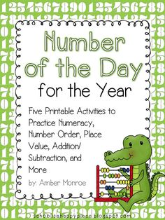 Here's a set of 5 different number of the day pages.