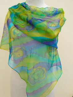 Chiffon silk scarf lime violet  turquoise yellow green Hand painted sheer multicolored silk. Gift for Fashionista. Bright refreshing colors by Irisit on Etsy