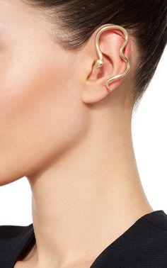 Snake Ear Cuff by Perez Bitan Snake Earrings, Snake Jewelry, Ear Jewelry, Cuff Earrings, Animal Jewelry, Snake Ears, Simple Bracelets, Unusual Jewelry, Jewelry Photography