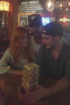 Alan Van Sprang (Valentine Morgenstern)... Dad loves some time with kids... Dominic Sherwood (Jace) and Katherine McNamara (Clary) Shadowhunters
