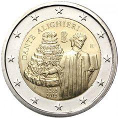 moneda conmemorativa 2 euros Italia 2015 Dante., Tienda Numismatica y Filatelia Lopez, compra venta de monedas oro y plata, sellos españa, accesorios Leuchtturm