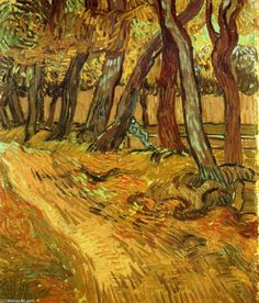 The Garden of Saint-Paul Hospital with Figure,  1889 - Vincent van Gogh