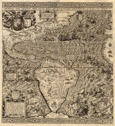 1562 America Antique Map giclee reproduction print on fine paper that will not fade. Available in different sizes, unframed or framed in beautiful vintage wood burl frame that complements antique map. Custom sizes available. Made in USA Old World Maps, Old Maps, Antique Maps, Vintage Maps, Vintage Wood, Antique Prints, Map Globe, Today In History, Historical Maps