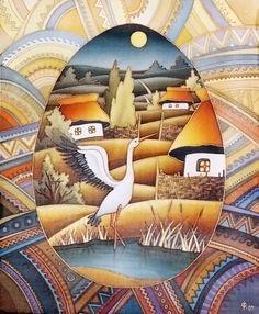 """Lyudmyla Sobol-batik.Холодный батик """"Пысанка"""", 2003 год"""