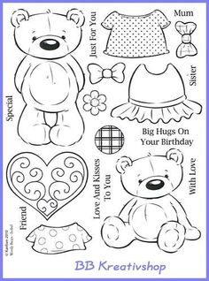 Bears Paper Doll Cut Outs