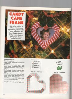 CANDY CANE FRAME Plastic Canvas Ornaments, Plastic Canvas Christmas, Plastic Canvas Crafts, Plastic Canvas Patterns, Canvas Picture Frames, Canvas Frame, Christmas Decorations To Make, Holiday Crafts, Pc Photo