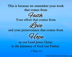 Faith-Hope-Love written before it was written in 1 Cor  1 Thess 1:3