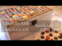 Teselas para mosaicos con CD - DVD - YouTube Cd Crafts, Creative Crafts, Recycled Cds, Upcycle, Recycling, Decorative Boxes, How To Make, Diy, Ideas Originales