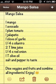 Mango Salsa recipe - This was good but could have used either more spice or pineapple. The flavors did not stand out like some mango salsas I have tried. Mexican Food Recipes, New Recipes, Cooking Recipes, Favorite Recipes, I Love Food, Good Food, Yummy Food, Appetizer Dips, Appetizer Recipes