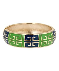 Look what I found on #zulily! Navy & Green Grecian Hinge Bangle by Fornash #zulilyfinds