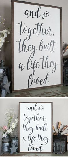 And So Together They Built A Life They Loved Wood Sign, Framed Sign, Bedroom Wall Art, Couples Sign, Farmhouse Style Sign, Love Decor, Wedding shower gift, Rustic decor, Rustic sign, Farmhouse decor #ad