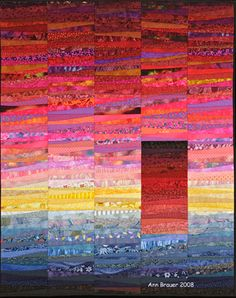 """Just returned from vacation and thought of my quilt beach house. 56 x 40"""". Copyright Ann Brauer 2008"""