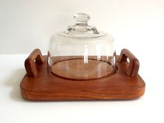 Teak Wood Cheese Board with Handles and Glass Dome, Dolphin, Made in Thailand, Glass Cheese Cloche by GentlyKept on Etsy