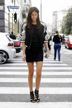 bomber jacket + black mini dress + strappy heels.